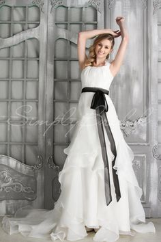 Classic Modest Black White $ - $700 and under A-line Empire Fall Floor Ruffles Sash/Belt SimplyBridal Sleeveless Spring Square Summer Wedding Dresses Photos & Pictures - WeddingWire.com