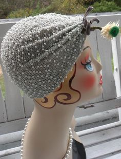Vintage 1950s Sally V Victor Cloche Turban Dress Hat Flapper Gray Blue White Beads #TurbanCloche