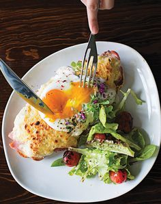 Croque Tartine Parisienne (Egg-Topped Ham and Cheese Sandwich) | SAVEUR.  My kind of comfort food.