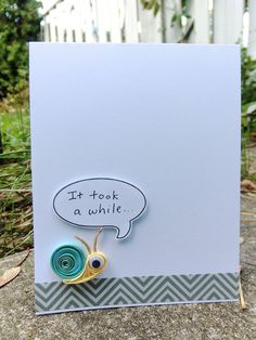 Quilled Snail Mail Handmade Belated Birthday Card by rainemoments, Quilling Patterns, Quilling Designs, Quilling Ideas, Quilling Cards, Paper Quilling, Cool Cards, Diy Cards, Belated Birthday Card, Late Birthday
