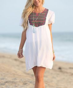 Another great find on #zulily! White Embroidered Front Panel Tunic #zulilyfinds