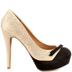 Get sassy in this feminine pump by G by Guess. The Varzia features a gold multi glitter accompanied by fabric accents at the toe and dainty bow.  A 5 inch stiletto heel and 1 inch platform wraps up this come hither style.