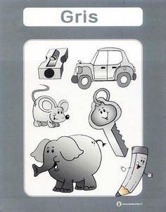 color gris fichas infantiles para aprender los colores imprimir gratis para niños Back To School Party, School Parties, Color Flashcards, Creativity Exercises, Elementary Spanish, Exercise For Kids, Kindergarten, Homeschool, Crafts For Kids