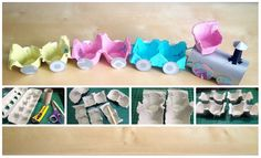 DIY kids toys with recycled material: train