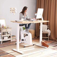 Sit-Stand-Move Solution: Height Adjustable Standing Desk+Under Desk Bikes | FlexiSpot