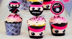 Pink Ninja themed birthday party with Really Cute Ideas via Kara's Party Ideas Kara Allen KarasPartyIdeas.com #ninjaparty #girlyninja #ninjaprintables #ninjapartyideas #karaspartyideas (1)