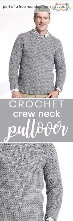 Get the free crochet pattern for this Crochet Crew Neck Pullover Sweater from Yarnspirations featured in my husband-approved crochet sweaters for men FREE pattern roundup!
