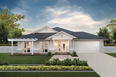 Lisbon 31 with our affordable East Hamptons facade on display at North Harbour. Click the image to see the design. Hamptons Style Homes, Hamptons House, The Hamptons, Building Facade, Building A House, Facade Design, House Design, Modern House Facades, House Exteriors