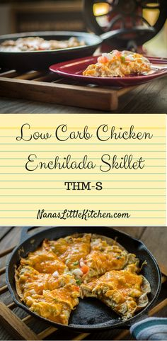 Low Carb Chicken Enchilada Skillet is a cheesy, creamy, green salsa, chicken enchilada skillet pie that is also on plan as an S for Trim Healthy Mama.