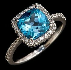 Cushion Cut Blue Topaz and Diamond Ring. This is absolutely BEYOND PERFECT!!!! Since both of our birthstones are the same!!