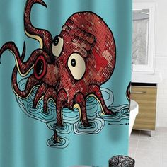octopus cartoon shower curtain #showercurtain  #showercurtains  #curtain  #curtains  #bath  #bathroom  #funnycurtain  #cutecurtain