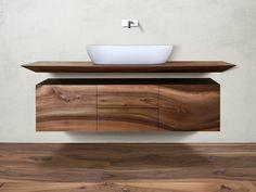 Suspended walnut bathroom cabinet CP Lab Design Collection by CP Parquet Bathroom Sink Design, Painting Bathroom Cabinets, Small Bathroom Sinks, Modern Master Bathroom, Bathroom Design Luxury, Diy Bathroom Decor, Bathroom Styling, Bathroom Furniture, Toilette Design