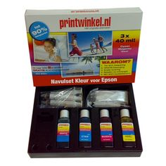 De EPSON Navulset Kleur van zijn extra voordelig. Met deze sets kunt u met gemak uw cartridges 8 tot 10x navullen!
