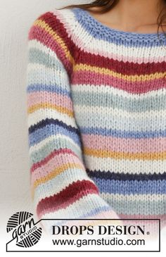 Happy Stripes pattern by DROPS design - платье Summer Knitting, Free Knitting, Baby Knitting, Sweater Knitting Patterns, Knit Patterns, Knitting Pullover, Knitted Slippers, Drops Design, Crochet Clothes