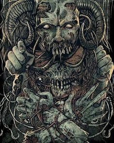 Pin by shloppy on draw reference Dark Fantasy Art, Dark Art, Arte Horror, Horror Art, Art Sinistre, Dibujos Dark, Art Noir, Heavy Metal Art, Satanic Art