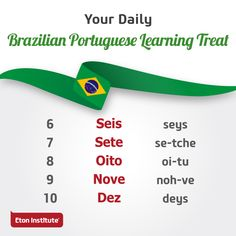 Practice the numbers from 6 to 10 in Brazilian Portuguese. Learn To Speak Portuguese, Learn Brazilian Portuguese, Portuguese Lessons, Scottish Accent, Common Quotes, Portuguese Language, Training Center, Vocabulary, Good Books