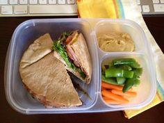 Laura's yummy lunch at the office. Pita sandwich, Greek hummus & veggies. hummus recipe: http://www.momables.com/hummus-recipe/www.MOMables.com @MOMables