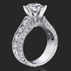 2.00 ctw. Round Diamond Millegrain Engraved 6 Prong Diamond Engagement Ring - bbr389