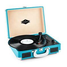 auna Peggy Sue platine vinyle portable design retro 2 haut-parleurs intégrés et port USB pour numérisation MP3 (sortie RCA, 33/45/78 tours)…