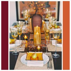 purple and orange thanksgiving table setting