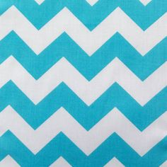 Poly Cotton Big Chevron Zigzag Stripes Turquoise and White 60 Inch Wide Fabric by the Yard, 1 yard