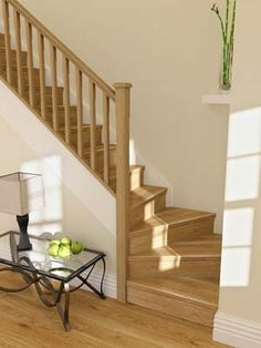 staircase with 90 degree turn bottom platform two stairs Oak Stairs, Staircase Railings, Wooden Stairs, Modern Staircase, Staircase Design, Staircase Ideas, Banisters, Stairs In Living Room, House Stairs