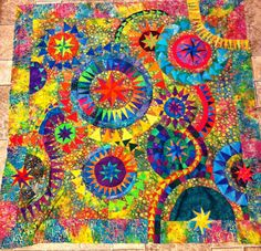 Jackie Dejong, the Colorful Quilt. Completed top in 2012, hand quilted, finished 2013. Pieced and quilted by Jennifer Martin in Alabama