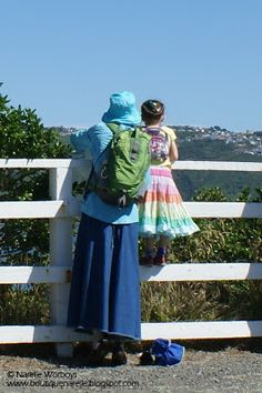 Narelle enjoying a bush walk and harbour views with her niece on Somes Island, New Zealand. It was a very hot day, the outfit perfectly suited to the adventure.