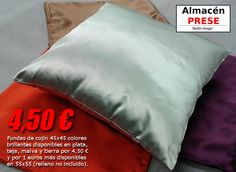 Surtido de cojines de 45x45 de colores brillantes disponibles en marrón, teja, malva y plata, todos a precio de 4,50 € la unidad (relleno no incluido).