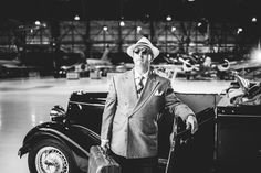 1940s men's fashion - straw fedora and a wool jacket. Don't forget the Ford Coupe! World War II Inspired Photo Shoot.