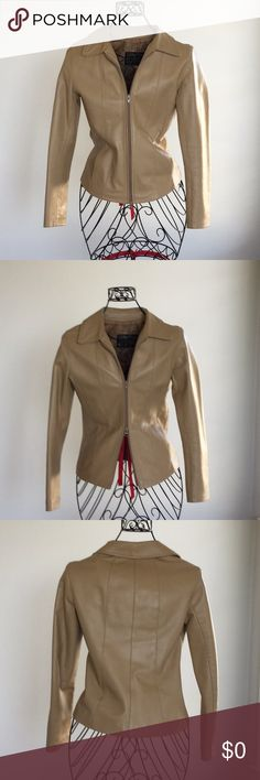 """Tan faux leather women's jacket size 40. Sz  small Love this tan faux leather women's jacket. Made in Italy by Schegge. Size 40. Fully lined. Perfect condition shoulders 15"""". 2 hidden slash side pockets.  2 way zipper. Fits a size 2, worn a handful of times. Schegge Firenze Vera Pelle Jackets & Coats"""