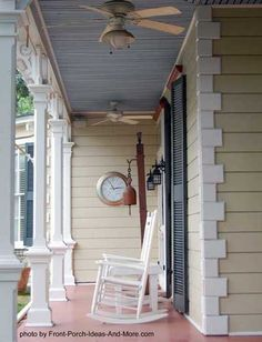 Love this cozy front porch with the haint blue ceiling. The clock on the wall and the white rockers add a huge dose of charm. #porch