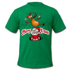 Merry X-mas T-shirt design with a red nosed reindeer dancing on Santa Claus. #Christmas #Xmas #Santa #SantaClaus #Spreadshirt #Cardvibes #Tekenaartje