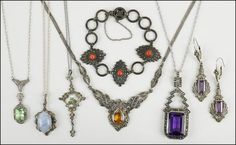 A COLLECTION OF STERLING SILVER NECKLACES. Lot 150-7078 #jewelry