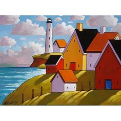 PAINTING ORIGINAL by Cathy Horvath, Summer Cottage Ocean Lighthouse, Acrylic on Canvas, Ready to Hang Folk Art Landscape, Fine Artwork 12x16