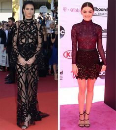 Lucy Hale and Kendall Jenner wearing see-through dresses