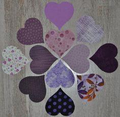 lot de 12 coeurs de tissu patchwork coloris assortis noirs et blancs