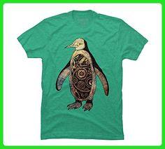 retro robo penguin Men's Small Lime Green Heather Graphic T Shirt - Retro shirts (*Amazon Partner-Link)
