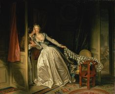 The Stolen Kiss / 1786 Oil on canvas by French painter Jean Honore Fragonard (1732–1806)