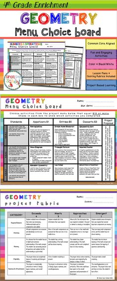 Geometry Enrichment Choice Board for Fourth Grade - This board contains three leveled activities for each standard: appetizer, entrée, and dessert.   NO TWO ACTIVITIES ARE ALIKE!