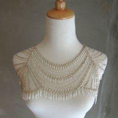 Beautiful Silver Draped Shoulder Necklace Bridal Body by VENEAI