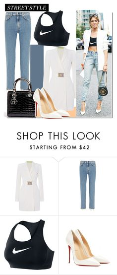 """Sports Infused..."" by nfabjoy ❤ liked on Polyvore featuring Versace, Acne Studios, NIKE, Christian Louboutin, StreetStyle, sportsluxe and athleisure"