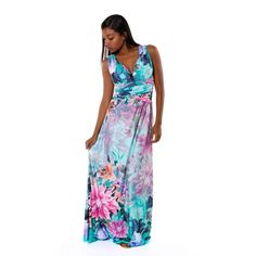 d075573d186c Hadari Women's V-neck Sleevless Multicolored Floral Maxi Dress - Overstock  Shopping - Top Rated