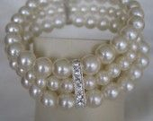 Ivory Triple Strand Pearl Bracelet for the Bide and her Bridesmaids Pearl Bracelet, Pearl Necklace, Bridesmaid Dresses, Bridesmaid Ideas, Bridesmaids, Pearl And Lace, Vintage Marketplace, Something Old, Most Beautiful