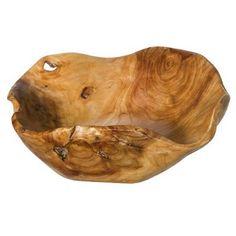 Carved walnut burl-wood bowl