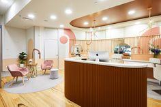Sugar Me by Studio Grayscale Interior Ceiling Design, Cafe Design, Interior Design Studio, Store Design, Commercial Interior Design, Commercial Interiors, Colored Ceiling, Ceiling Color, Partition Screen