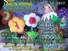 We'll discuss children's songs, water buckets, and flowers that need watered...and you'll see me do a couple of basic cartoon voices in honor of one of our celebrity birthdays on the May 30th episode of FOOLIN' AROUND WITH GIZMOE THE CLOWN!  https://youtu.be/0Vn3_cwxDR4