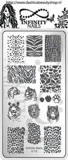 Infinity Nails - Image Plate 12 (Pre-Order) | Infinity Nails | dashicabeautyshop, 4,99 euro  I love this plate! So many animal print designs all on one!