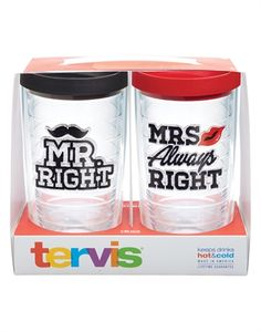 Mr. Right and Mrs. Always Right 2-pack Gift Set 16oz with Lids - 16oz tumbler