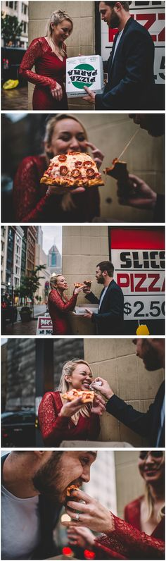 Couple tucking into a delicious pizza just outside of the parlour for their engagement shoot // Epic City Pizza Engagement Session (Complete with Grease-Filled Engagement Rings!)